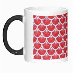 Scales3 White Marble & Red Colored Pencil Morph Mugs by trendistuff