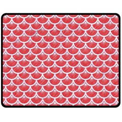 Scales3 White Marble & Red Colored Pencil Fleece Blanket (medium)  by trendistuff