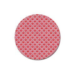 Scales2 White Marble & Red Colored Pencil Magnet 3  (round) by trendistuff