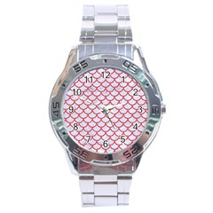 Scales1 White Marble & Red Colored Pencil (r) Stainless Steel Analogue Watch