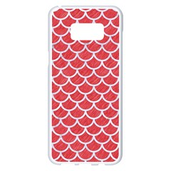 Scales1 White Marble & Red Colored Pencil Samsung Galaxy S8 Plus White Seamless Case by trendistuff