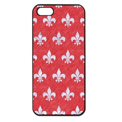 Royal1 White Marble & Red Colored Pencil (r) Apple Iphone 5 Seamless Case (black) by trendistuff