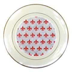 Royal1 White Marble & Red Colored Pencil Porcelain Plates by trendistuff