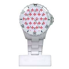 Royal1 White Marble & Red Colored Pencil Plastic Nurses Watch by trendistuff