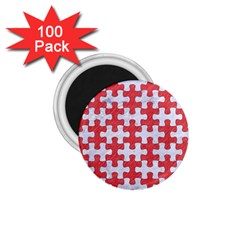Puzzle1 White Marble & Red Colored Pencil 1 75  Magnets (100 Pack)  by trendistuff