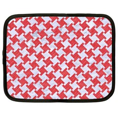 Houndstooth2 White Marble & Red Colored Pencil Netbook Case (large) by trendistuff