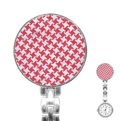 Houndstooth2 White Marble & Red Colored Pencil Stainless Steel Nurses Watch by trendistuff