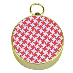 Houndstooth2 White Marble & Red Colored Pencil Gold Compasses by trendistuff