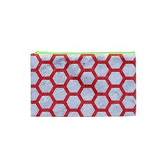 Hexagon2 White Marble & Red Colored Pencil (r) Cosmetic Bag (xs) by trendistuff