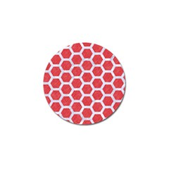 Hexagon2 White Marble & Red Colored Pencil Golf Ball Marker by trendistuff