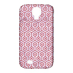 Hexagon1 White Marble & Red Colored Pencil (r) Samsung Galaxy S4 Classic Hardshell Case (pc+silicone) by trendistuff