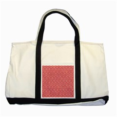 Hexagon1 White Marble & Red Colored Pencil Two Tone Tote Bag by trendistuff