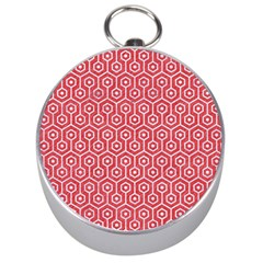 Hexagon1 White Marble & Red Colored Pencil Silver Compasses by trendistuff