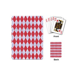 Diamond1 White Marble & Red Colored Pencil Playing Cards (mini)  by trendistuff