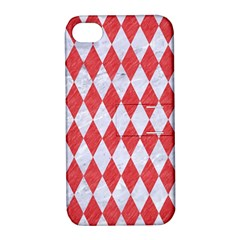 Diamond1 White Marble & Red Colored Pencil Apple Iphone 4/4s Hardshell Case With Stand by trendistuff