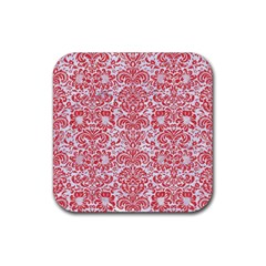 Damask2 White Marble & Red Colored Pencil (r) Rubber Square Coaster (4 Pack)  by trendistuff