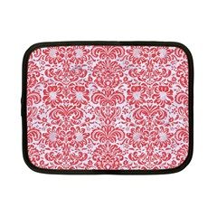 Damask2 White Marble & Red Colored Pencil (r) Netbook Case (small)  by trendistuff