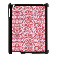 Damask2 White Marble & Red Colored Pencil (r) Apple Ipad 3/4 Case (black) by trendistuff