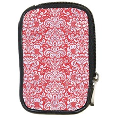 Damask2 White Marble & Red Colored Pencil Compact Camera Cases by trendistuff