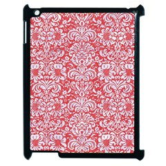 Damask2 White Marble & Red Colored Pencil Apple Ipad 2 Case (black) by trendistuff