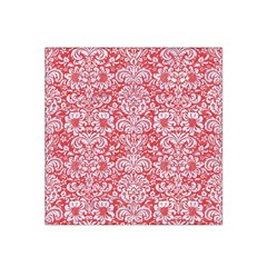 Damask2 White Marble & Red Colored Pencil Satin Bandana Scarf by trendistuff