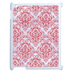 Damask1 White Marble & Red Colored Pencil (r) Apple Ipad 2 Case (white) by trendistuff