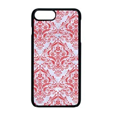 Damask1 White Marble & Red Colored Pencil (r) Apple Iphone 8 Plus Seamless Case (black)