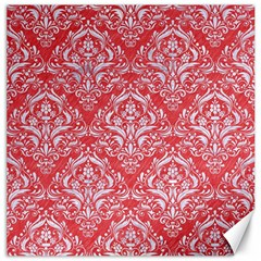 Damask1 White Marble & Red Colored Pencil Canvas 12  X 12   by trendistuff