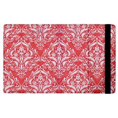 Damask1 White Marble & Red Colored Pencil Apple Ipad 2 Flip Case by trendistuff