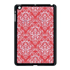 Damask1 White Marble & Red Colored Pencil Apple Ipad Mini Case (black) by trendistuff