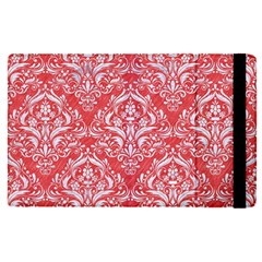 Damask1 White Marble & Red Colored Pencil Apple Ipad Pro 12 9   Flip Case