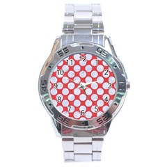 Circles2 White Marble & Red Colored Pencil Stainless Steel Analogue Watch by trendistuff