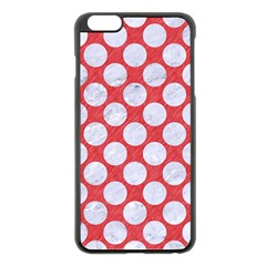 Circles2 White Marble & Red Colored Pencil Apple Iphone 6 Plus/6s Plus Black Enamel Case by trendistuff