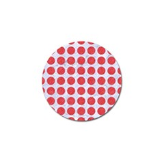 Circles1 White Marble & Red Colored Pencil (r) Golf Ball Marker (4 Pack) by trendistuff