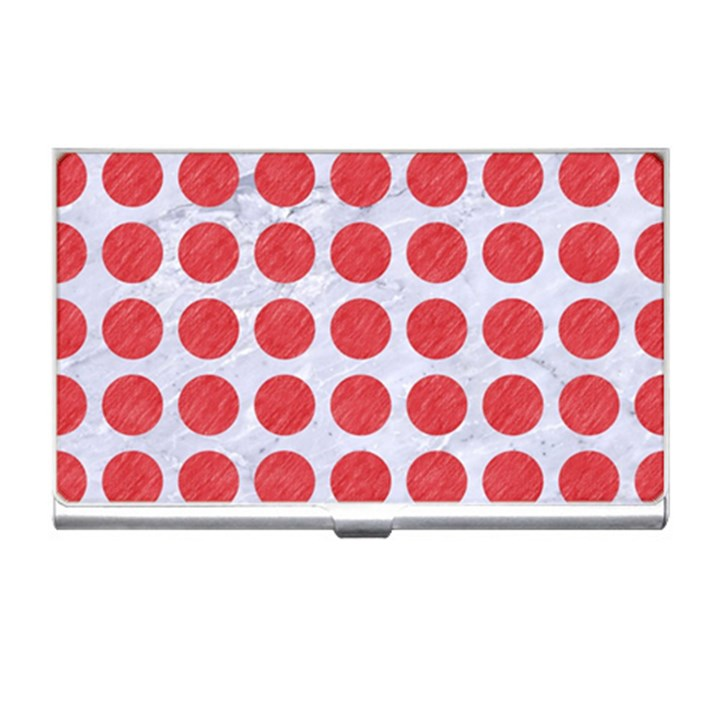 CIRCLES1 WHITE MARBLE & RED COLORED PENCIL (R) Business Card Holders