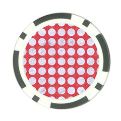 Circles1 White Marble & Red Colored Pencil Poker Chip Card Guard by trendistuff