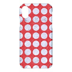 Circles1 White Marble & Red Colored Pencil Apple Iphone X Hardshell Case