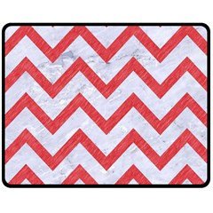 Chevron9 White Marble & Red Colored Pencil (r) Fleece Blanket (medium)  by trendistuff