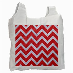 Chevron9 White Marble & Red Colored Pencil Recycle Bag (one Side) by trendistuff