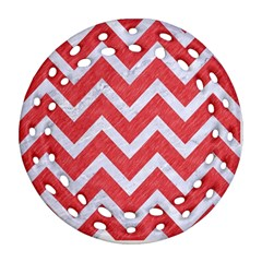 Chevron9 White Marble & Red Colored Pencil Ornament (round Filigree) by trendistuff