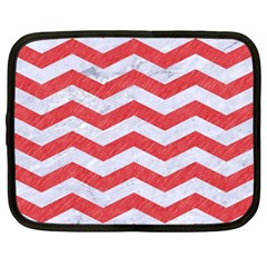 Chevron3 White Marble & Red Colored Pencil Netbook Case (large) by trendistuff