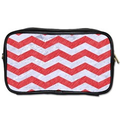 Chevron3 White Marble & Red Colored Pencil Toiletries Bags 2 Side by trendistuff