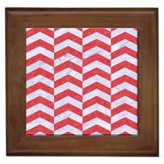Chevron2 White Marble & Red Colored Pencil Framed Tiles by trendistuff