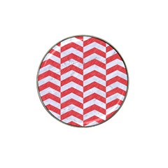 Chevron2 White Marble & Red Colored Pencil Hat Clip Ball Marker by trendistuff