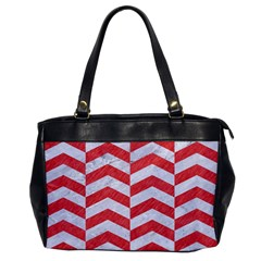 Chevron2 White Marble & Red Colored Pencil Office Handbags by trendistuff