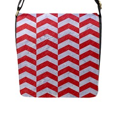 Chevron2 White Marble & Red Colored Pencil Flap Messenger Bag (l)