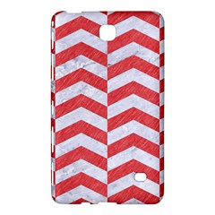 Chevron2 White Marble & Red Colored Pencil Samsung Galaxy Tab 4 (8 ) Hardshell Case  by trendistuff