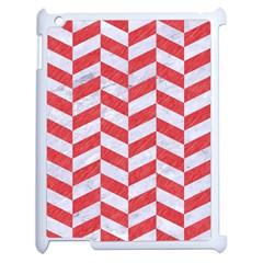 Chevron1 White Marble & Red Colored Pencil Apple Ipad 2 Case (white) by trendistuff