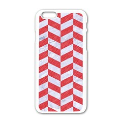 Chevron1 White Marble & Red Colored Pencil Apple Iphone 6/6s White Enamel Case by trendistuff