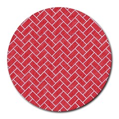 Brick2 White Marble & Red Colored Pencil Round Mousepads by trendistuff